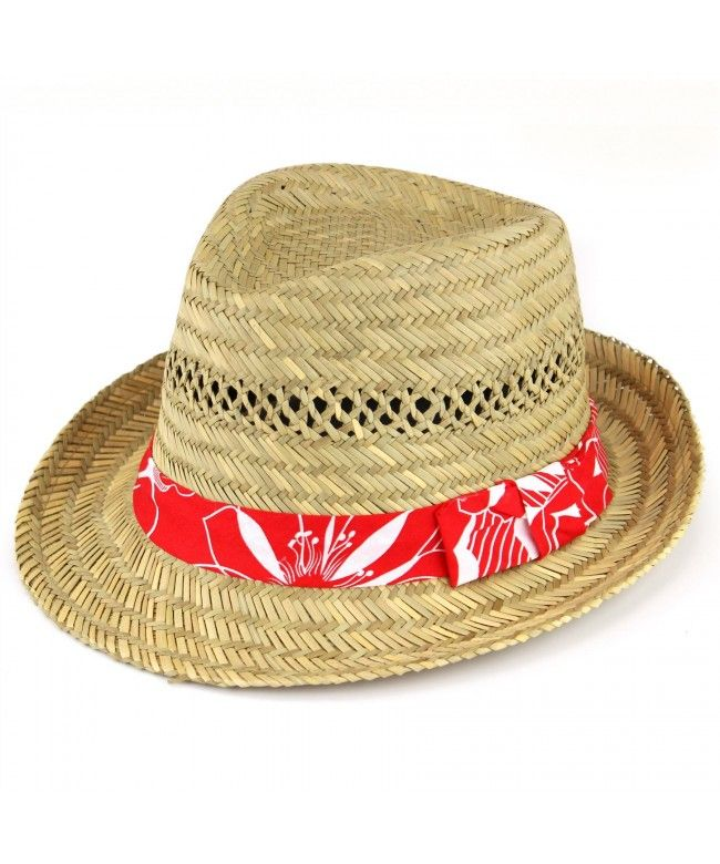 Hawkins Straw trilby hat with Hawaiian hibiscus flower band - Red