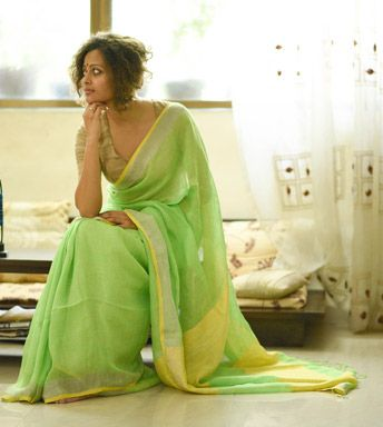 Linen Sarees - Handloom Linen- How Could A Bumblebee Resist A Chartreuse Paddy Field With A Dull Gold Fence With Bumblebee Yellow Blouse Piece By Suta PC 19755 - Thumbnail