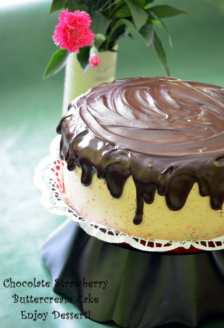 Chocolate Strawberry Buttercream Cake