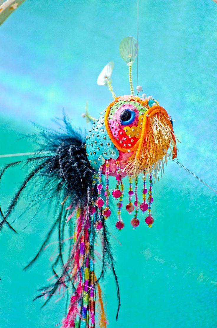 Aqua Koi Fish Sculpture Ornament Fancy by BrookeConnorDesign, $50.00