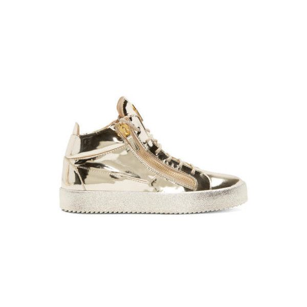 Giuseppe Zanotti Gold High-Top Sneakers (18.505 CZK) ❤ liked on Polyvore featuring men's fashion, men's shoes, men's sneakers, shooting platino, mens gold high top sneakers, mens gold sneakers, mens high top sneakers, mens lace up shoes and gold mens shoes