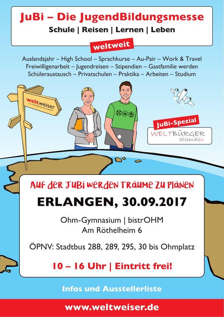 JuBi Erlangen am 30.09.17 #jugendbildungsmesse #fernweh #reisen #sprachreisen #schüleraustausch #auslandsjahr #freiwilligendienst #aupair
