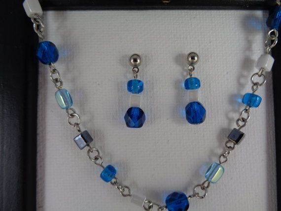 Multi way Carribean Blue, Turquoise and Hematite Beaded Necklace and Earrings Set, Teal Necklace and Earring Set