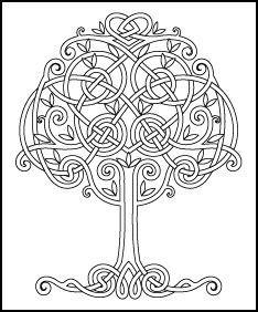 Kleurplaat  Keltische boom