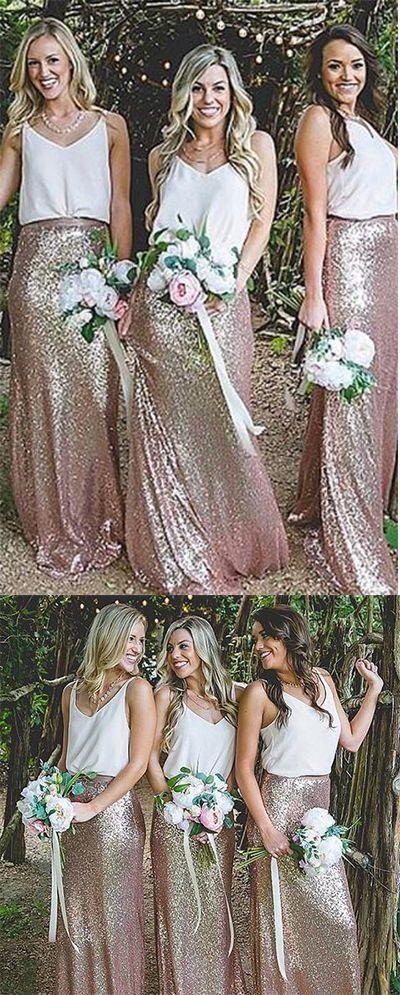 Elegant Sheath V-Neck Straps Sequined Floor-Length A-Line Sleeveless Bridesmaid Dresses,#bridesmaiddress,#sequins,#white,#golden,#promdressuk