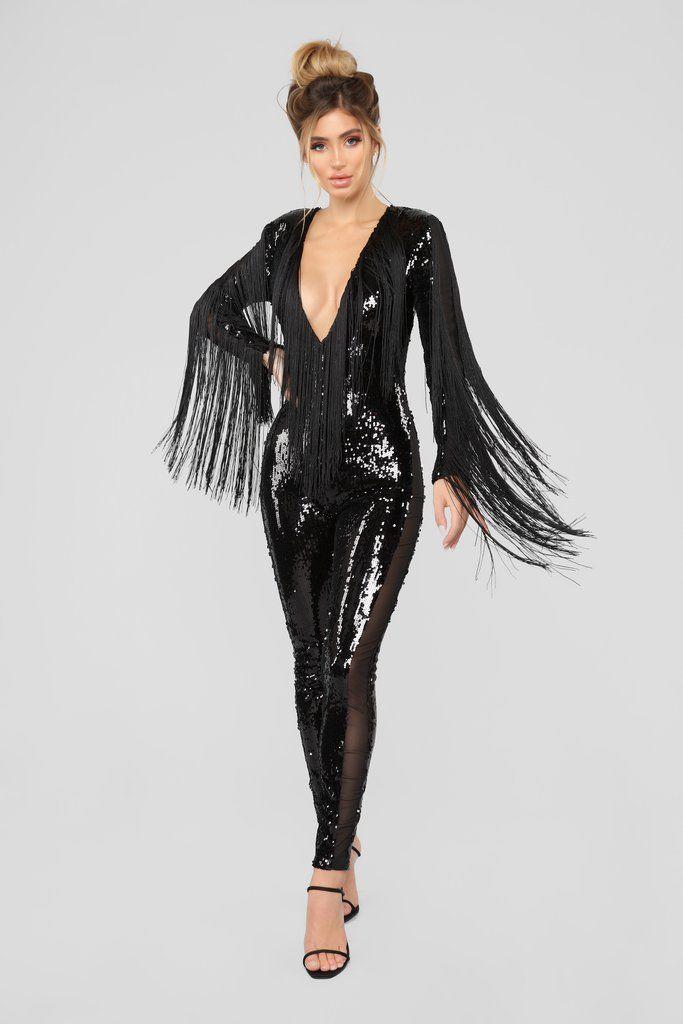6098904b1284 Grace Sequin Jumpsuit - Black