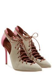 Ronnie Suede Lace-Up Pumps with Cutouts | Malone Souliers