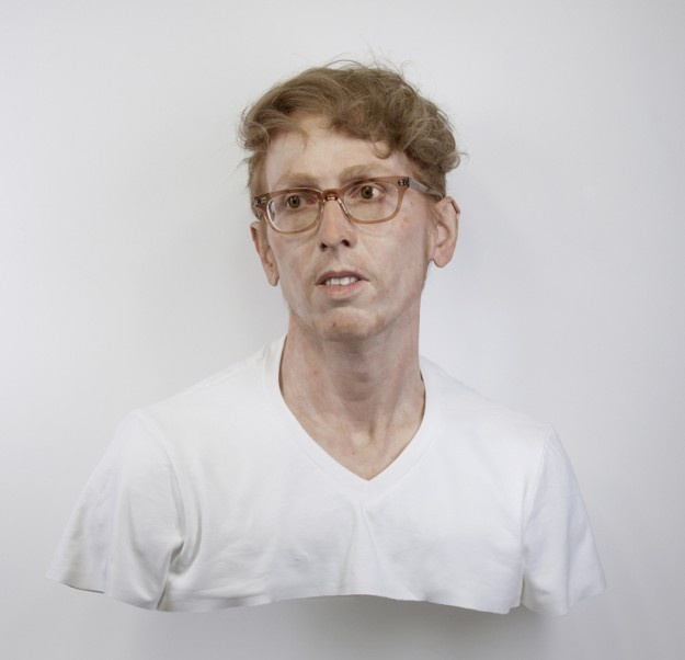 Evan Penny   Young Self: Portrait of the Artist as He Was (Not). Variation #1, 2011   silicone, pigment, hair, fabric, aluminum
