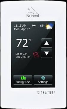 Nuheat Signature. North America's 1st wifi floor heating thermostat. The Signature features a colour touchscreen and remote access via smartphone app or web browser.