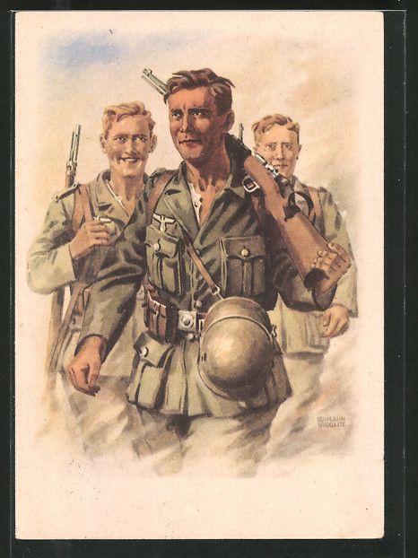 old postcard: Künstler-AK Grenadiere in Uniform auf dem Marsch, Postkuriosum!