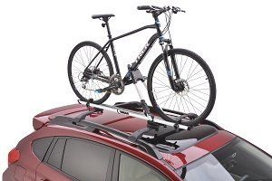 "Subaru Forester Imperza Outback WRX 2008-2017 Roof Bike Rack OEM NEW Thule Genuine. Subaru Bike Carrier SOA567B020 Self adjusting jaws automatically wrap around the downtube for precise frame hold and ratcheting straps secure the front and rear wheels Adjustable mounting clamps make it easy to install and switch between multiple compatible vehicles. Fits most 20"" to 29"" wheel bikes with tires up to 2.6"" wide. Includes one lock to securely lock the bike to the carrier."