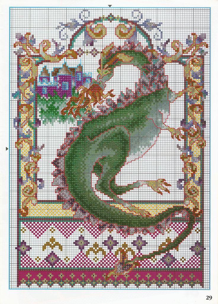 dragone verde sputafuoco punto croce (1) - magiedifilo.it punto croce uncinetto schemi gratis hobby creativi