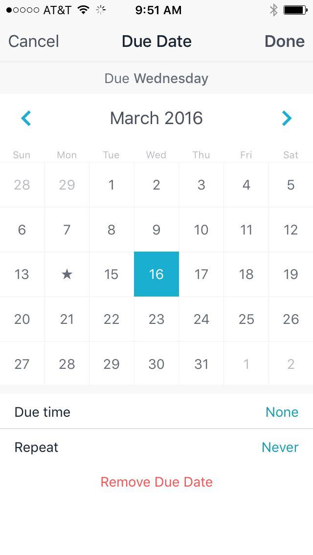 Asana Tasks mobile- calendar, add due date