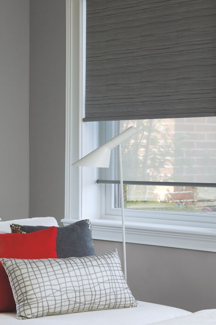 If you love the view through of screen shades but want privacy at night, a Dual Roller Shade from Hunter Douglas is the perfect option! This Shades features a room darkening shade in the front and a screen or sheer shade behind. Best of both worlds!