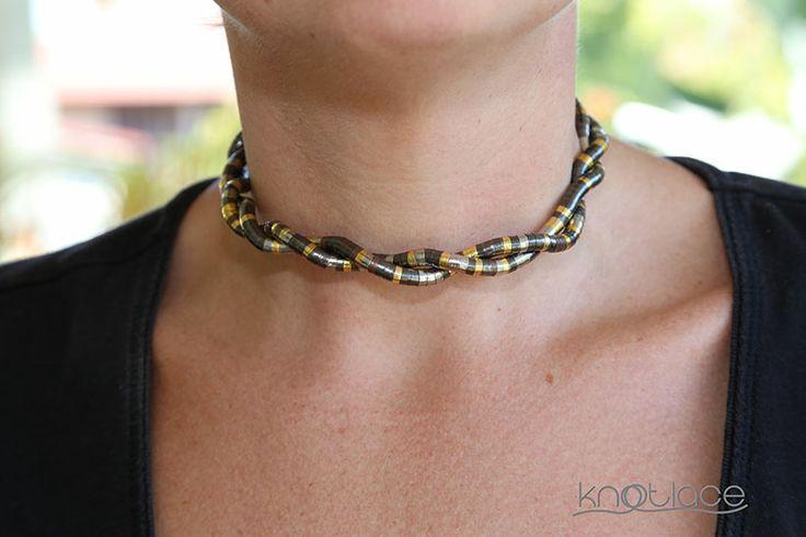 Skinny Mixed metal Knotlace as a twisted choker - http://knotlace.com.au/ #style #fashion #accessory #jewellery