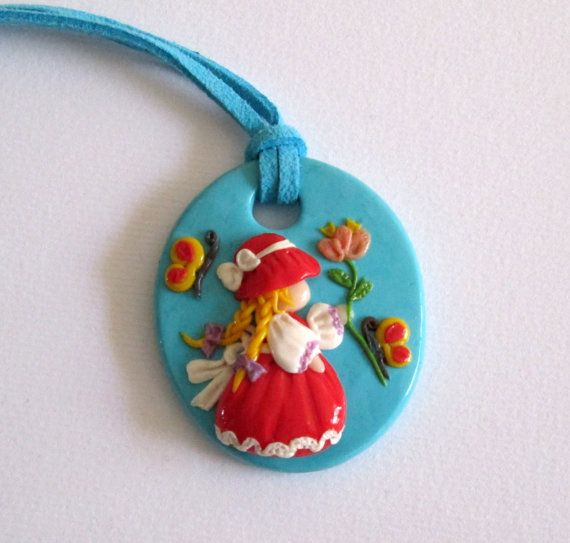 pendant made of polymer clay fimo little di Fimocollections