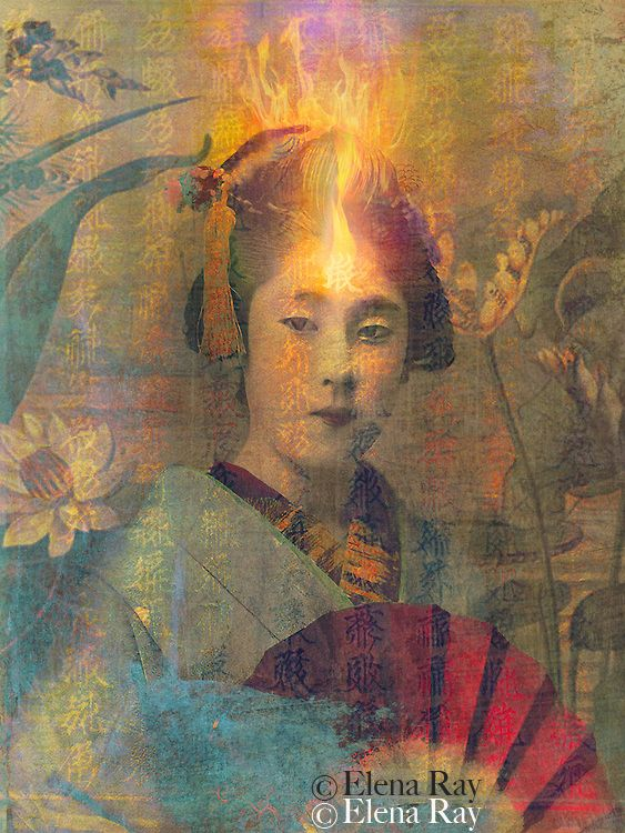 Satori by Elena Ray. Fire in the mind of a geisha girl in a garden, with overlays and textures. Fire symbolizes a new consciousness of spiritual power and transformation. Fire is one of the four elements in ancient and medieval philosophy and in astrology. Fire is the rapid oxidation of a material in the chemical process of combustion, releasing heat, and light.
