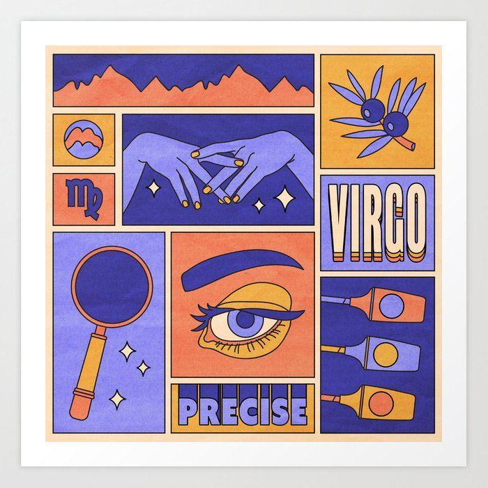 Virgo Framed Mini Art Print by Berlin Michelle - Light Wood - x Aries Art, Capricorn And Taurus, Zodiac Art, Guache, Arte Pop, Grafik Design, New Wall, Art Inspo, Pop Art