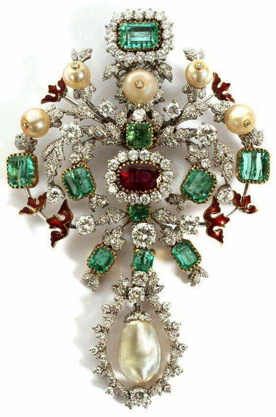ANTIQUE GOLD RUBY EMERALD DIAMOND & PEARL BROOCH
