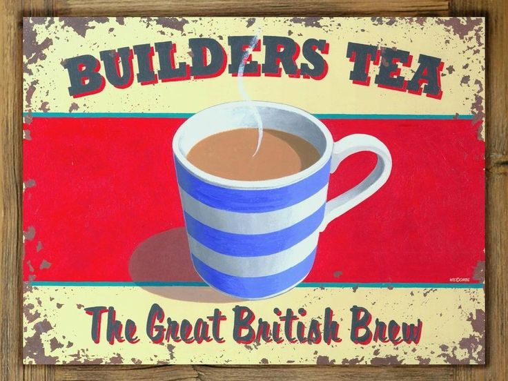 Builders Tea Metal Sign on Rustic Barn Wood Frame, home kitchen decor, British #Handmade #RusticPrimitive