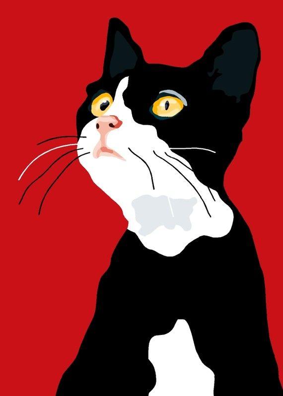 Wishful kitten print 9 x 12.5 por animalsincolor en Etsy