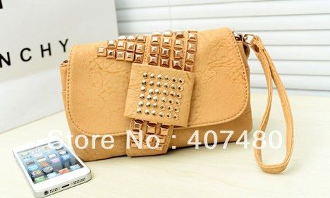 Find More Evening Bags Information about popular rivet clutch day evening bag PU leather shoulder bag sling Handbag Designer Lady girl's women Fashion wholesale retail,High Quality leather shoulder bags for women,China handbag purse bag Suppliers, Cheap handbag small from China Rui International Bags Trading Co., Ltd. on Aliexpress.com