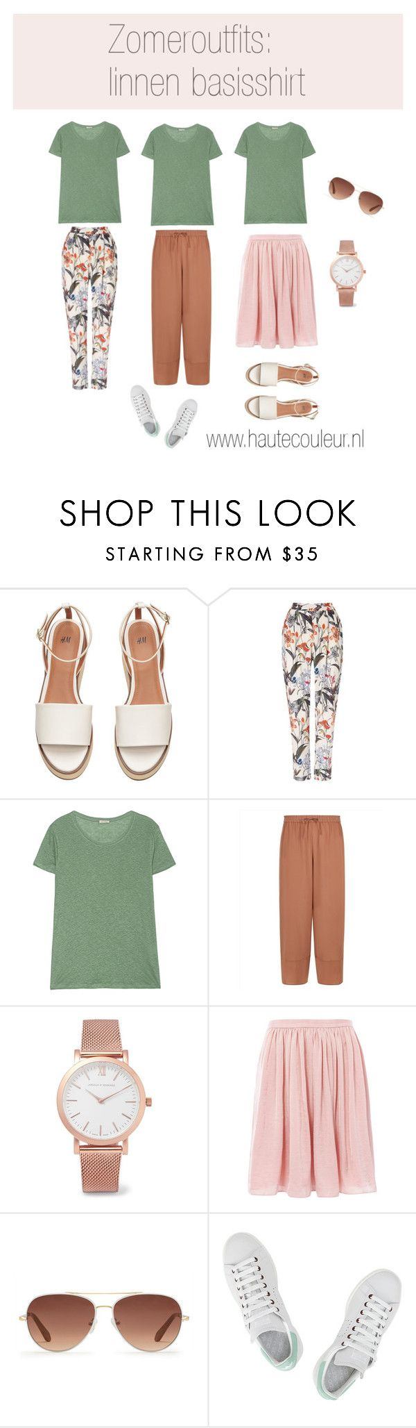 """Zomeroutfits: linnen basisshirt"" by veerlebiront on Polyvore featuring mode, Phase Eight, American Vintage, Jaeger, Larsson & Jennings, Needle & Thread, Stella & Dot en adidas"