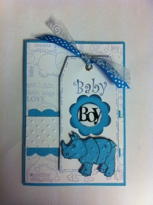 Baby Boy Card created with all Kaszazz products