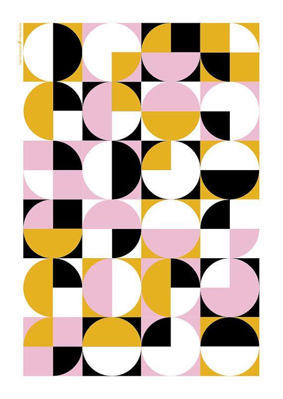 Mediados del siglo moderno geométrico abstracto de arte cartel