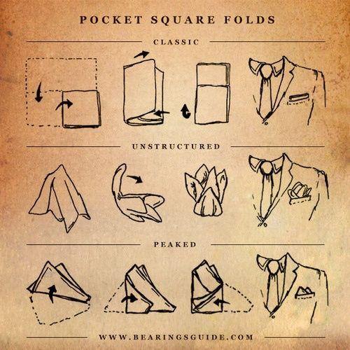 {STYLE INSPIRATION FOR MEN} Pocket square folds!!