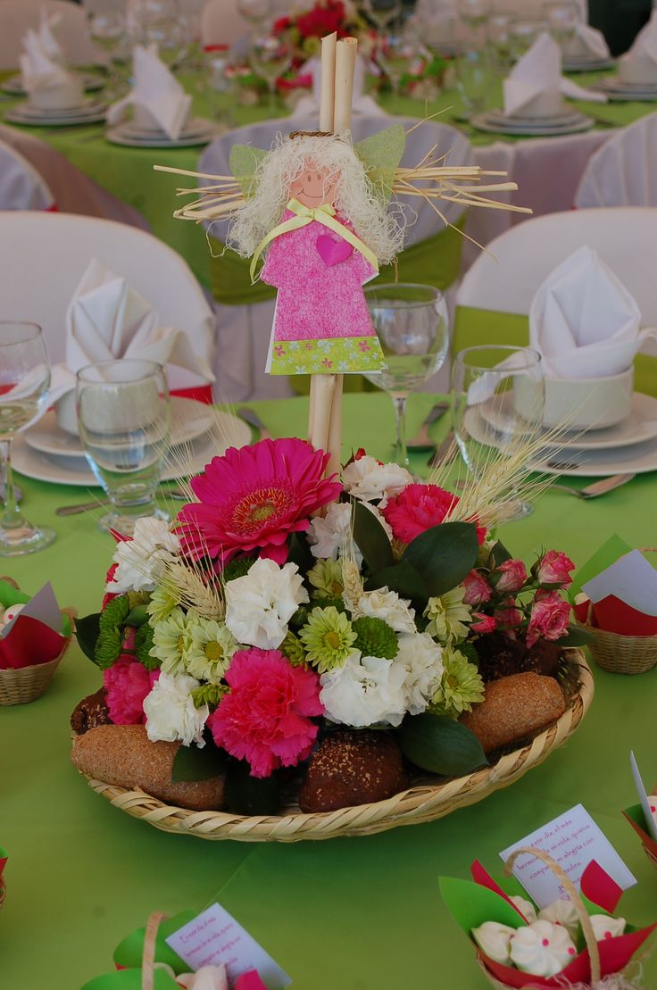 centro de mesa con ángel
