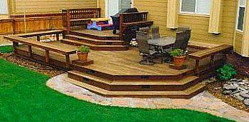 Deck bench as railing