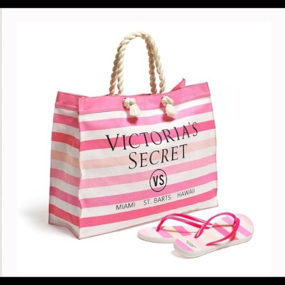 Victoria's Secret Bags - Victoria secret beach bag and flip flops
