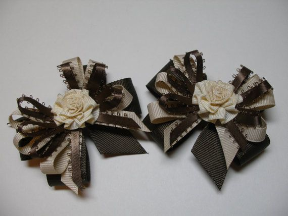 Hair Bows Pig Tail Pair FaLL Dark Brown Ecru Tan by HareBizBows
