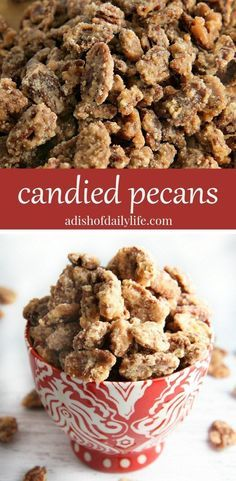 Candied pecans make a wonderful appetizer for parties, and are a great topping for cakes and other desserts! Use them on salads too! Such an easy recipe to make and SO delicious!