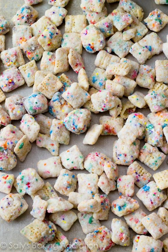 cupcake puppy chow.... My oh my this looks dangerously delicious. - I used white cake mix, instead of powder sugar, it was awesome, and melting chips are 100% better than baking chips.