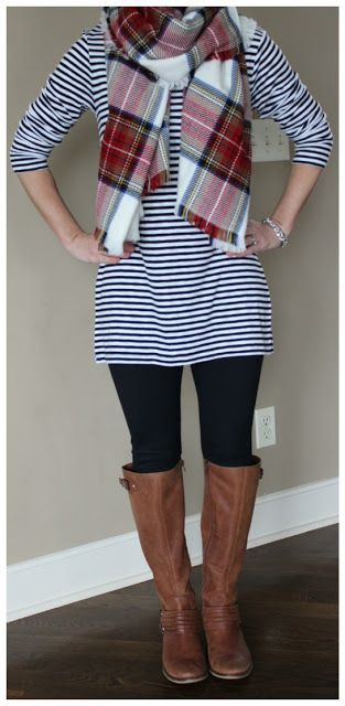 How to wear a striped tunic top and plaid scarf with leggings www.wearitforless.com