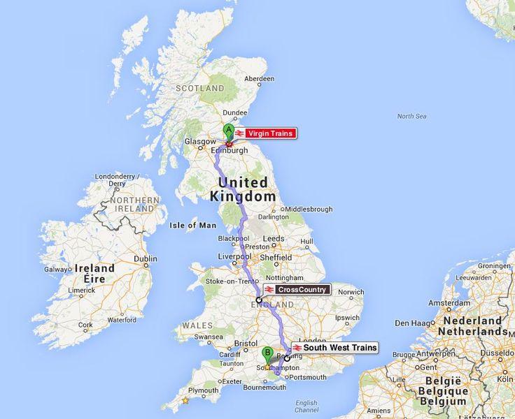Edinburgh'tan Salisbury'e tren rotası.. / from Edinburgh to Salisbury train route..
