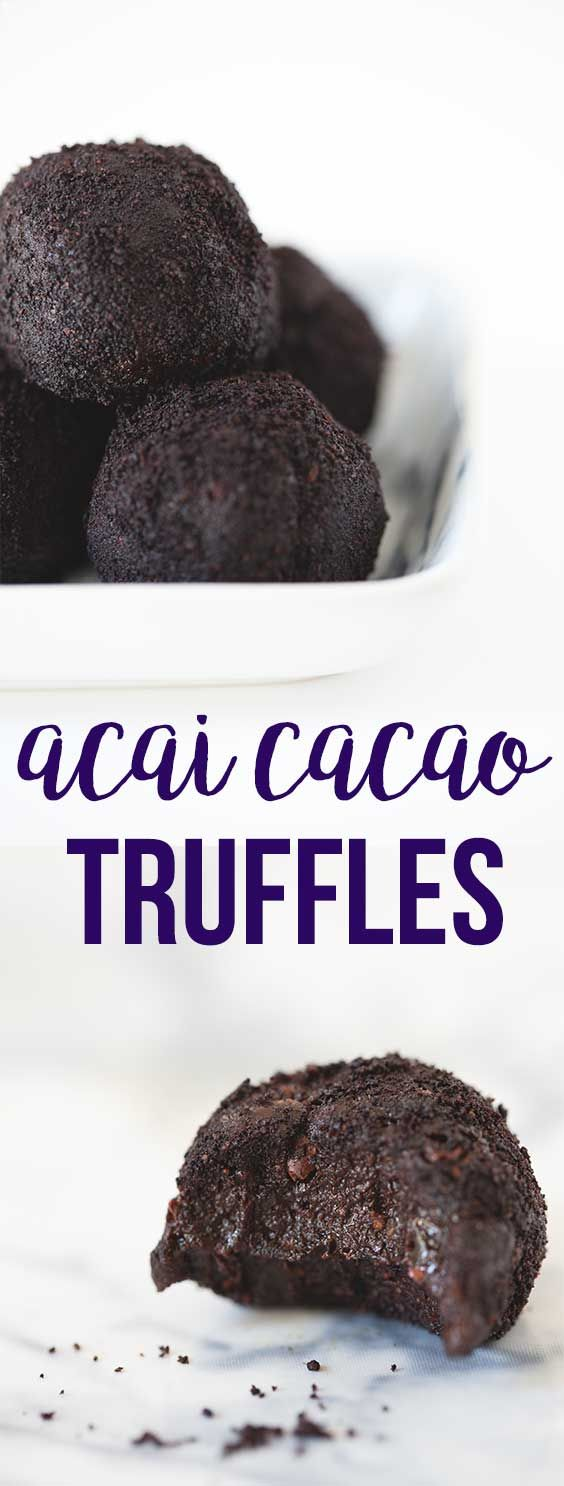 Rich and decadent superfood truffles made with raw cacao, acai powder and cacao nibs - vegan, gluten-free, refined sugar-free, healthy truffles