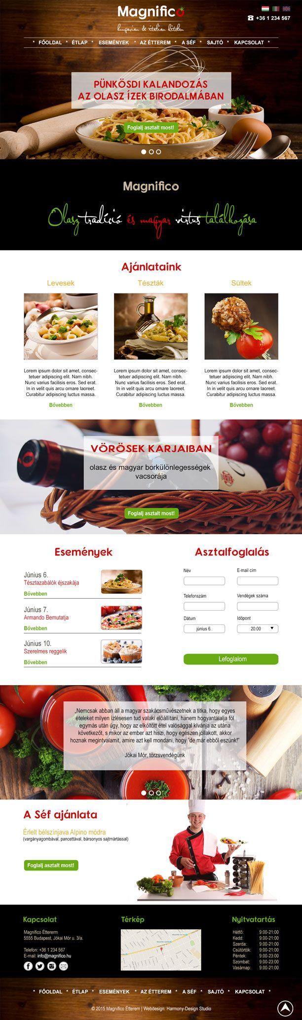 Magnifico étterem responsive webdesign - desktop