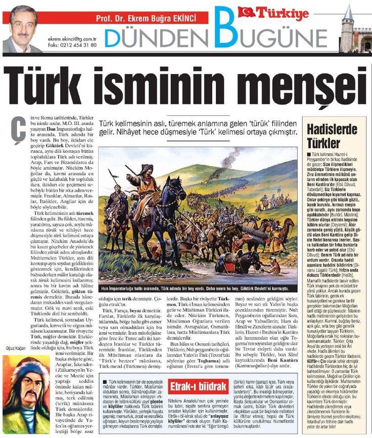 Türk kelimesinin aslı türemek fiilinden gelir. Bu fiilden, türemiş, yaratılmış, sayıca çok, soylu mânâsına türük ve nihâyet hece düşmesiyle türk kelimesi ortaya çıkmıştır. Nitekim Anadolu'da bir kısım göçebeler de yürümek fiilinden yürük adını almışlardır. Muhtemelen Türkler, aynı dili konuşup aynı soydan geldiklerini göstermek için, kendilerinden bahsederken millet karşılığı olarak türük kelimesini kullanmış; sonra bu bir kavim adı hâline gelmiştir. Göktürk, gökten türemiş demektir.