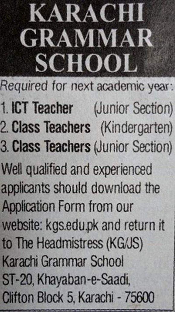 ICT Teacher,Class Teachers Jobs  Karachi Grammar School