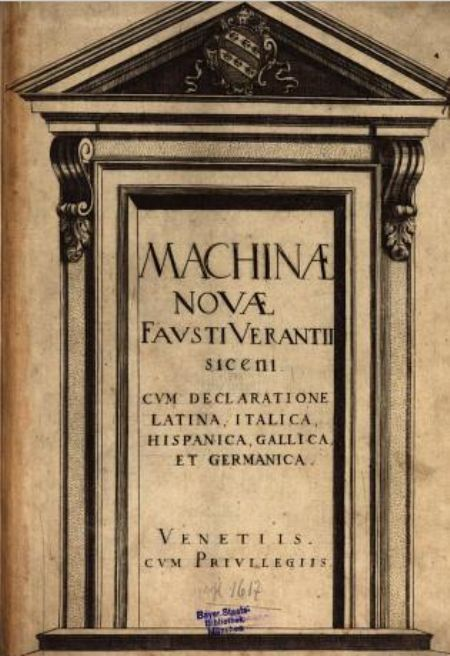 Faust Vrančić rođen je 1551. u Šibeniku, a umro u Veneciji 1617. godine. Kao čovjek širokoga interesa, u naslijeđe nam je ostavio nekoliko vrijednih djela različita sadržaja, od kojih su najbitniji Dictionarium quinque nobilissimarum Europae linguarum (Venecija, 1595.), rječnik pet najuglednijih europskih jezika, te jedno od najvažnijih djela s područja tehnike onoga vremena – Machinae novae, Novi strojevi (Venecija, 1615./1616.).