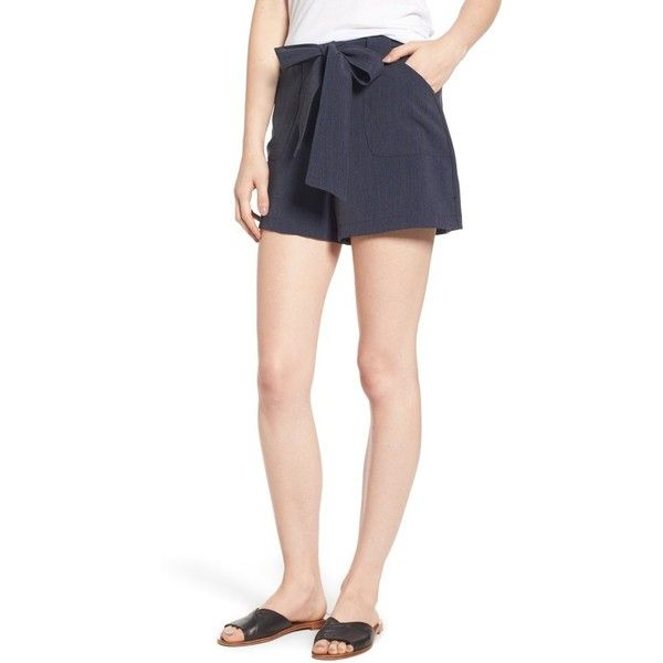 Women's Leith Tie Waist Patch Pocket Shorts ($55) ❤ liked on Polyvore featuring shorts, navy medieval, oversized shorts, tie-dye shorts, leith, retro shorts and navy blue shorts
