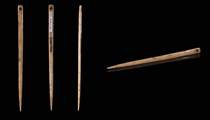 Flat bone sewing needle Locality: Gourdan cave, Gourdan–Polignan , Haute-Garonne , France Stage: Magdalenian Upper Paleolithic (between 17,000 and 10,000 Before the Current Era) Muséum de Toulouse MHNT.PRE.2009.0.246.1 – Size 59x3x2 mm. Views of the same object.