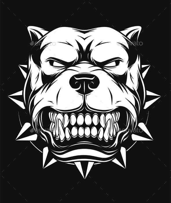 Vector Illustration Angry Pitbull Dog Illustration Pitbull Art Bulldog Drawing