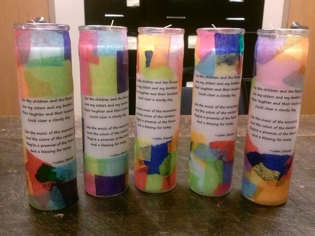 Gift for volunteer appreciation.  Plain white prayer candles from the dollar store (could probably order them online even cheaper), poem printed on velum (I used lyrics from John Denver's song Rhymes and Reasons) and tissue paper. I used spray adhesive to get the velum to stick then modge podged the torn (or cut) pieces of colored tissue paper around it. Followed up with a coat of modge podge over the whole thing.
