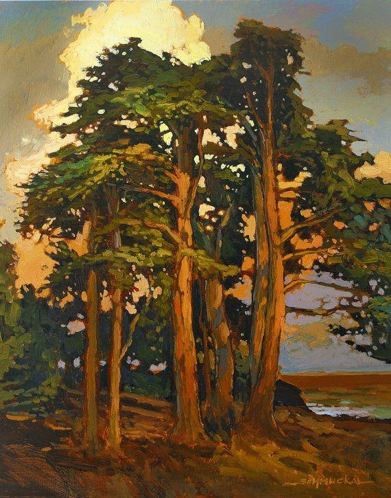 Sentinels - Giclee Art PRINT of Original Painting matted 16x20 by Jan Schmuckal Pines Sunset
