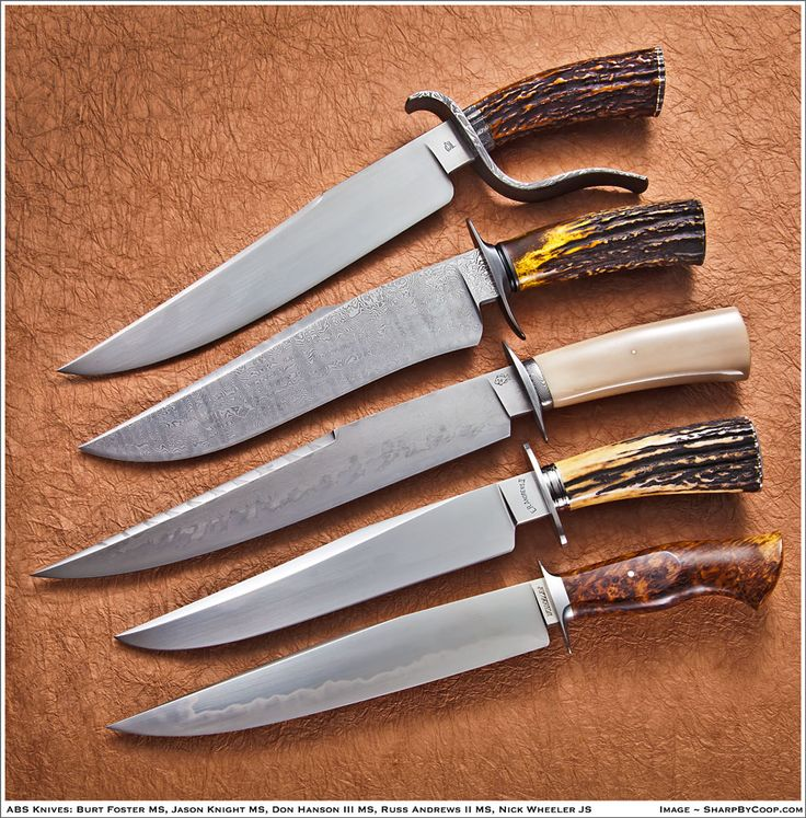 Five Modern Bowie Knives by Five different makers.
