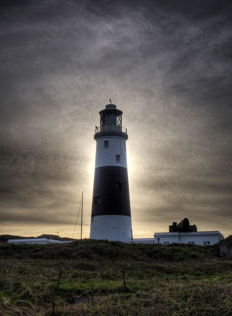 Sun behind the Lighthouse - Mannez Lighthouse, also known as Alderney's Lighthouse - Island of Alderney